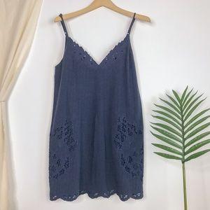 Astr REVOLVE Navy Floral Lace Shift Mini Dress